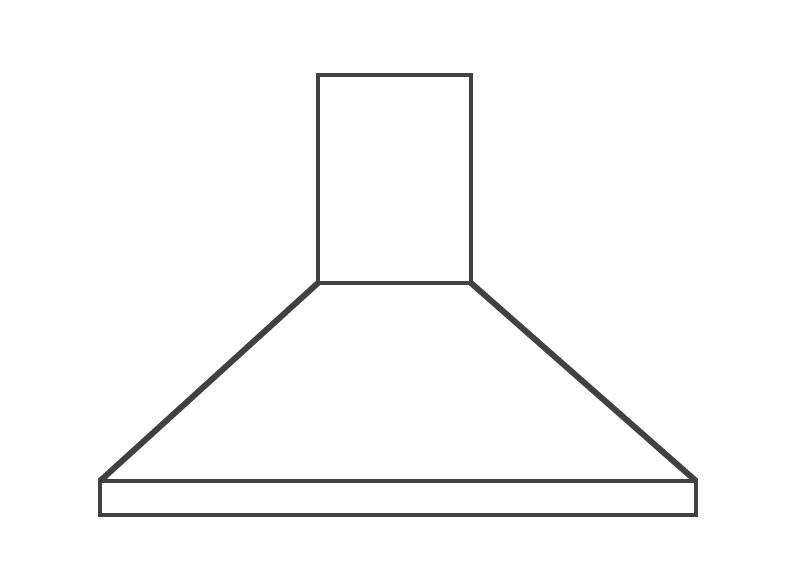 Line drawing of a large extractor canopy