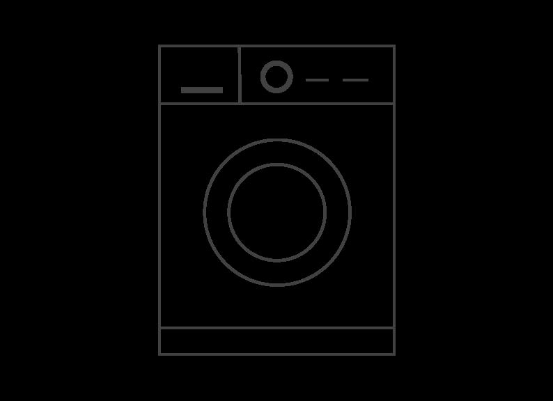 Line drawing of a washing machine